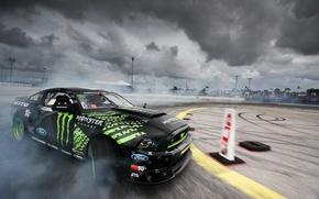 Обои ford, monster energy, nitto tire mustang rtr, formula drift