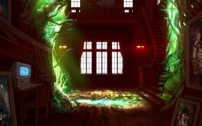 Картинка компьютер, вода, свет, дом, девушки, бутылка, аниме, арт, лестница, картины, парень, umineko no naku koro …