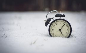 Картинка зима, снег, часы, будильник, цифры, циферблат