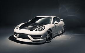 Картинка белый, фон, тюнинг, Porsche, Panamera, Hamann, tuning, передок, Порше.Панамера, Cyrano