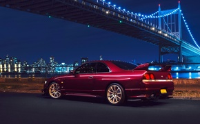 Картинка Nissan, Car, Bridge, New York, NYC, Skyline, Sport, R33, Rear, Nigth, Chery