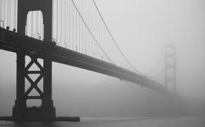 Картинка мост, туман, фото, золотые ворота, калифорния, сан-франциско, ч.б