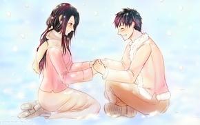 Картинка зима, аниме, арт, пара, девочка, парень, One Piece