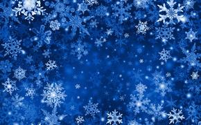 Обои снежинка, синий, снег