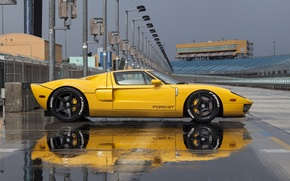 Картинка Ford, yellow, track, profile, hre, gt