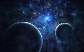 Картинка космос, звезды, синий, планеты, явление