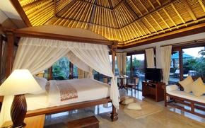 Картинка лампа, кровать, телевизор, кресла, pool, столик, спальня, interior, villa, бассейн.