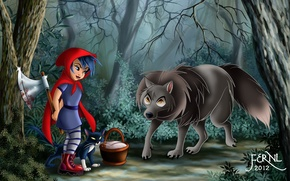 Обои кошка, девочка, красная шапочка, топор, арт, корзинка, волк, Red Riding Hood, кровь, корзина, лес, кот