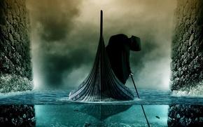 Картинка река, лодка, мгла, харон, стикс