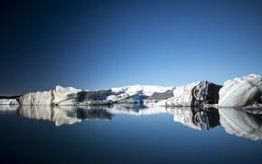 Картинка ice, sky, sea, ocean, winter, snow, reflection, mirror, icebergs, ice floes