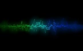 Картинка волна, цветная, пульсация, чёрный фон