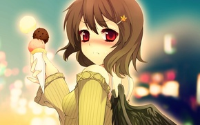 Картинка аниме, арт, мороженое, девочка