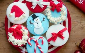 Картинка еда, Новый Год, Рождество, сладости, Christmas, крем, десерт, пирожные, праздники, New Year, кексы, новогодние