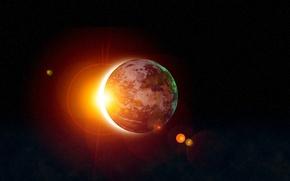 Картинка пространство, планета, sunrise