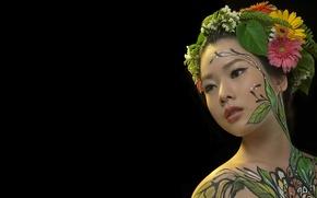 Картинка девушка, портрет, азиатка, боди арт, body painting, hani nguyễn