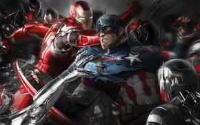 Картинка фантастика, арт, битва, Iron Man, комикс, Captain America, супергерои, Avengers: Age of Ultron, Мстители: Эра …