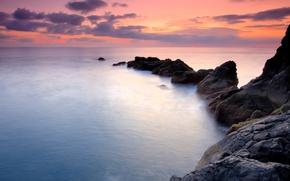 Обои океан, небо, вода, скалы, закат