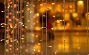 Картинка макро, желтый, фон, обои, размытие, wallpaper, украшение, гирлянда, лампочки, широкоформатные, background, боке, полноэкранные, HD wallpapers, …