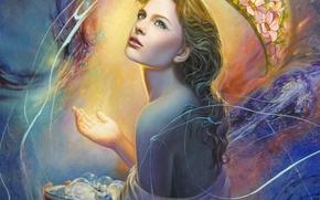 Картинка взгляд, девушка, свет, лицо, волосы, спина, рука, арт, живопись, лампочки, Christiane Vleugels