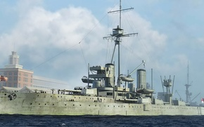 Картинка корабль, арт, флот, Dreadnought, военный, линкор, британский, battleship, WW1, HMS