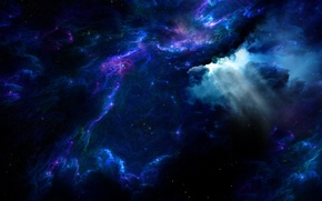 Картинка космос, свет, туманность, огни, пространство, сияние, фантазия, фантастика, свечение, атмосфера, арт, бездна, мерцание, просветы, воздушные ...