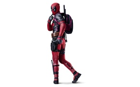 Картинка Action, Ryan Reynolds, Red, Black, Warrior, with, White, Guns, Deadpool, Eyes, Ninja, bag, Year, MARVEL, ...