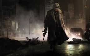 Обои ночь, город, Godfather, гангстер, Крёстный отец, мафия