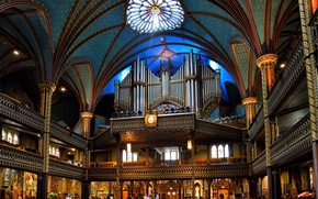 Картинка Канада, церковь, балкон, религия, колонна, орган, Собор Монреальской Богоматери, Базилика Нотр-Дам де Монреаль
