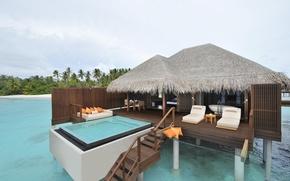 Картинка диван, океан, бассейн, отель, Ayada Maldives