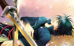 Картинка меч, руки, лепестки, клинки, art, visual novel, harukanaru toki no naka de 4, tohko mizuno, …