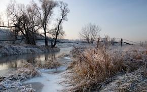Картинка иней, пейзаж, река, рассвет