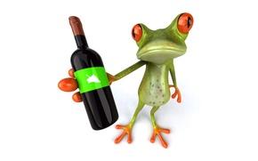 Картинка вино, графика, бутылка, лягушка, Free frog 3d