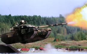 Картинка прыжок, выстрел, танк, полигон, российский, Т-90, тяжелый танк