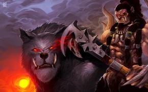 Обои warcraft, волк, орк, топор, арт