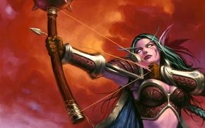 Картинка World of warcraft, trading card game, эльфийка, лук, охотница