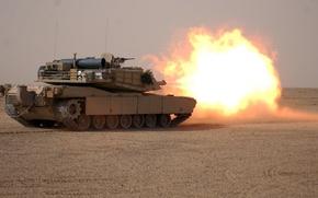 Обои пустыня, выстрел, танк