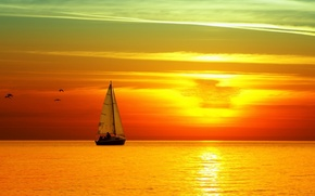 Картинка небо, закат, птицы, Море, парусник, ярко.