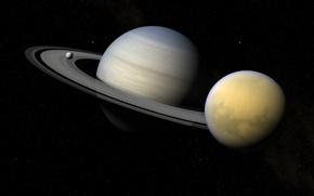 Картинка звезды, пространство, Saturn, Enceladus, Titan