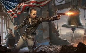 Обои девушка, город, пистолет, война, ребенок, флаг, революция, колокол, Homefront: The Revolution