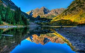 Картинка осень, деревья, пейзаж, горы, озеро