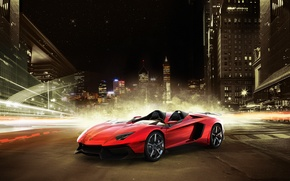Картинка ночь, город, Lamborghini, суперкар, ламборджини, Aventador J