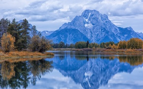 Картинка осень, лес, небо, вода, облака, деревья, тучи, гладь, отражение, река, утро, Вайоминг, USA, США, Wyoming, …