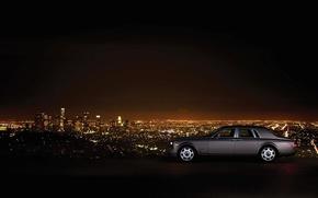 Картинка машина, пейзаж, ночь, гора, небоскребы, Phantom, стоит, Rolls Royce, ночной город, сбоку, роскошь, Los Angeles, ...