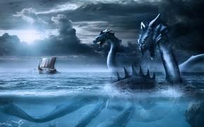 Картинка море, небо, птицы, тучи, дракон, корабль, парусник, монстр