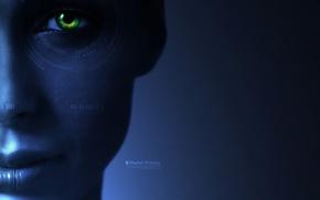 Обои Синий фон, Зеленый, Глаз