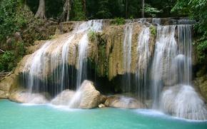 Картинка природа, скалы, водопад