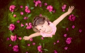 Картинка цветы, ребенок, девочка