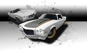 Картинка Chevrolet, капот, 1971, Camaro SS, диски, Шевроле Камаро, Tuning, Muscle car