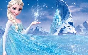 Картинка снег, горы, звезда, лёд, Frozen, Королева, Queen, снежинка, Walt Disney, анимация, Уолт Дисней, 2013, Elsa, …