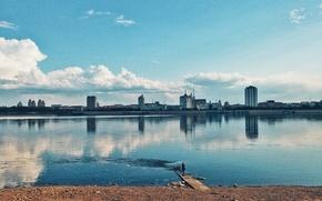 Картинка облака, пейзаж, река